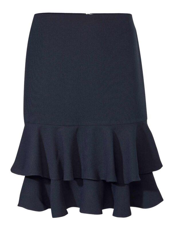 Doris marineblå nederdel fås hos Dahl Copenhagen