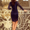 170 7 Lace dress with neckline navy blue 1