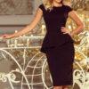 192 3 Elegant midi dress with frill black