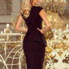 192 3 Elegant midi dress with frill black 3