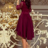 210 1 NICOLLE dress with longer back with lace neckline burgundy color 1