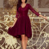 210 1 NICOLLE dress with longer back with lace neckline burgundy color 2