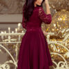 210 1 NICOLLE dress with longer back with lace neckline burgundy color 3