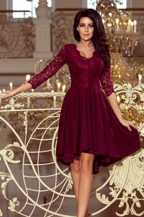 NICOLLE kjole med lang ryg Bordeaux fås hos Dahl Copenhagen