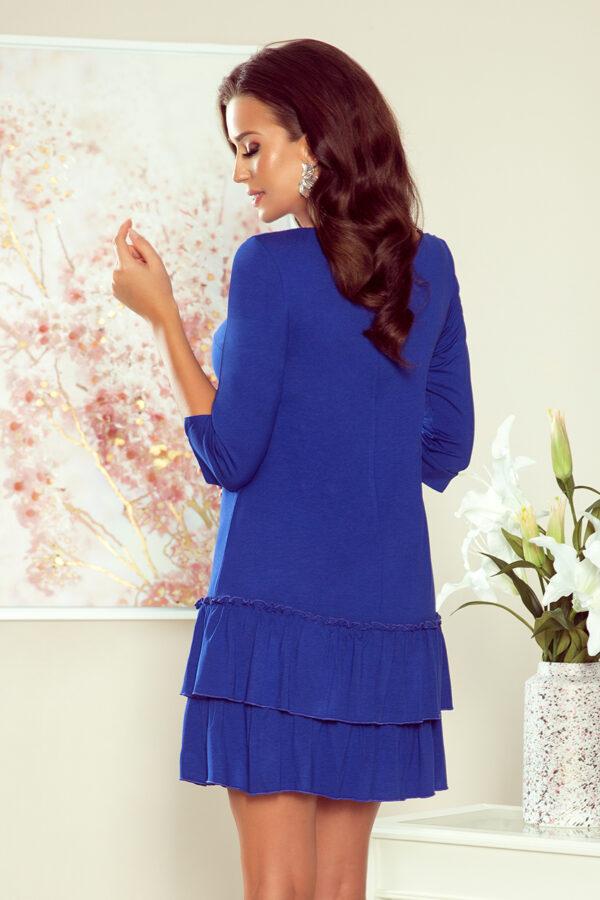 SUSAN kjole med flæser Royal Blue fås hos Dahl Copenhagen