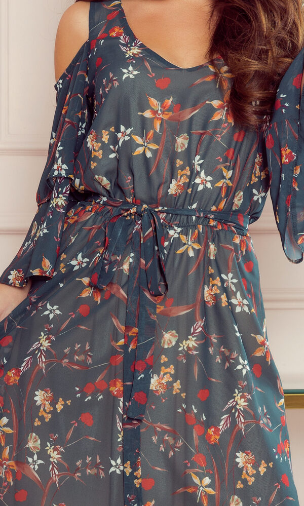 Marina kjole Grøn med blomsterprint fås hos Dahl Copenhagen