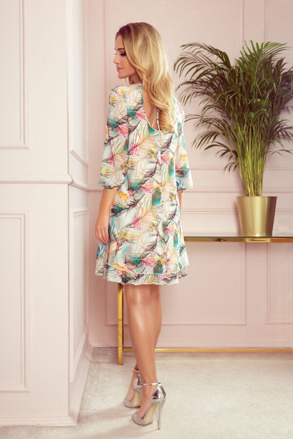 Ivette Chiffon kjole med farverigt print fås hos Dahl Copenhagen