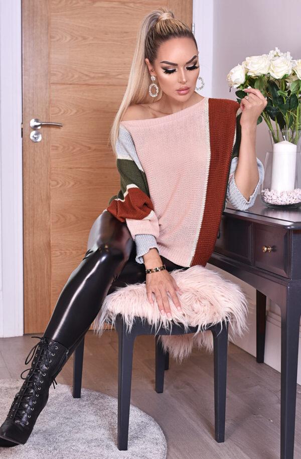 Letisha Strikbluse Pink/Rød fås hos Dahl Copenhagen