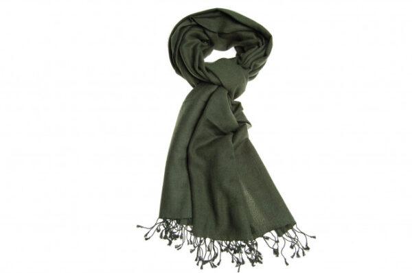 Kashmir pashmina 70% i mørkegrøn fås hos Dahl Copenhagen
