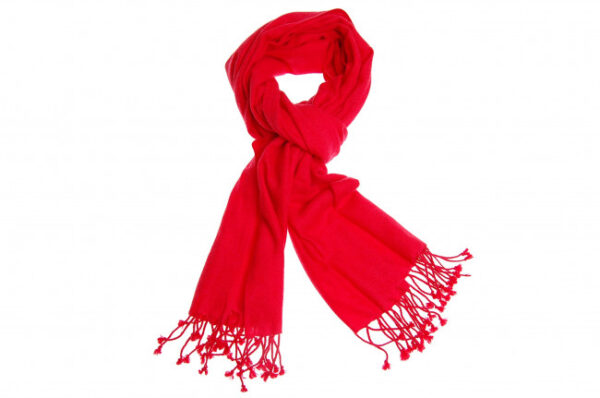 Kashmir pashmina i rød fås hos Dahl Copenhagen